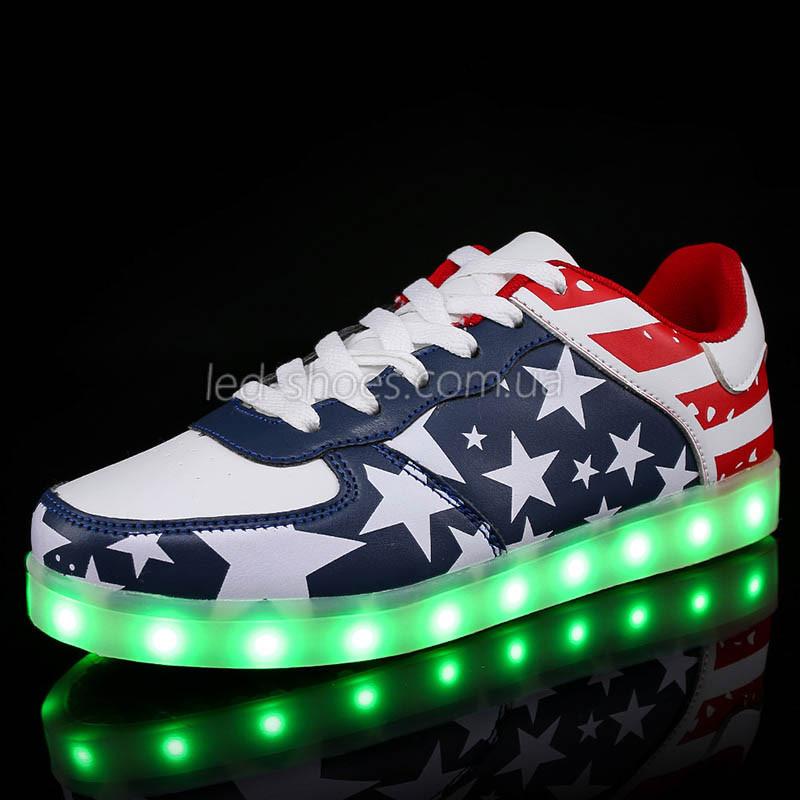 LEd кроссовки Американский флаг на шнурках без надписей 5303