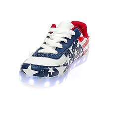 LEd кроссовки Американский флаг на шнурках без надписей 5303, фото 2