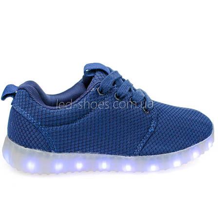LEd кроссовки дышащие классика синие на шнурках 5308-9, фото 2