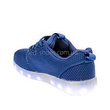 LEd кроссовки дышащие классика синие на шнурках 5308-9, фото 3