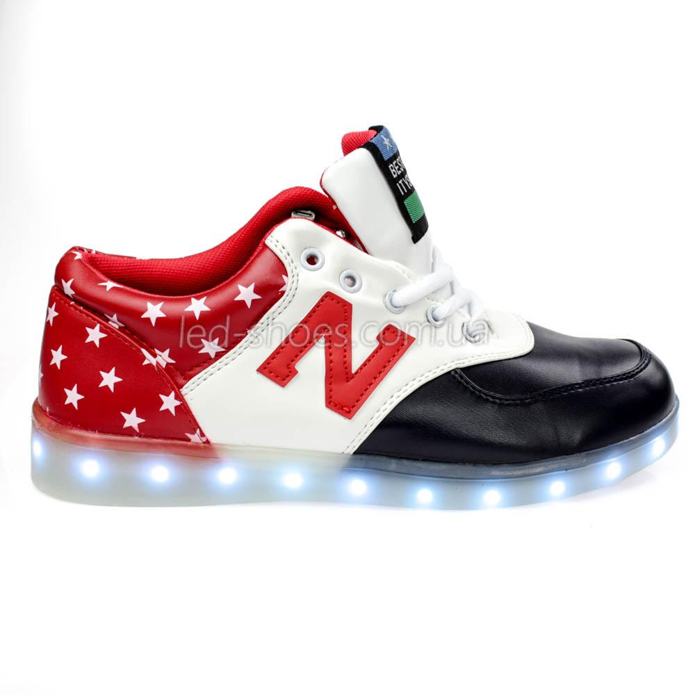 LEd кроссовки Америка буква N на шнурках 5114