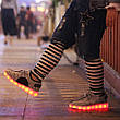 Светящиеся LED кроссовки Yeezy на шнурках серые 5102-8, фото 2