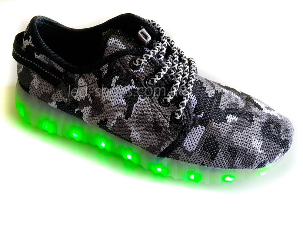 Светящиеся LED кроссовки Yeezy на шнурках хаки серые 5402-21