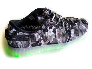 Светящиеся LED кроссовки Yeezy на шнурках хаки серые 5402-21, фото 3