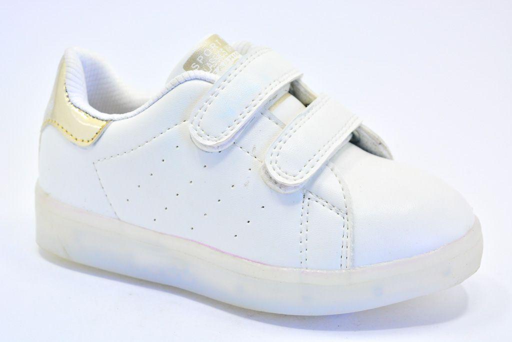 LEd кроссовки на липучках белые с золотой пяткой 406-4