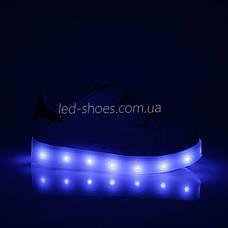 LEd кроссовки на липучках белые с золотой пяткой 406-4, фото 3