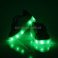 LEd кроссовки на липучках белые с золотой пяткой 406-4, фото 2