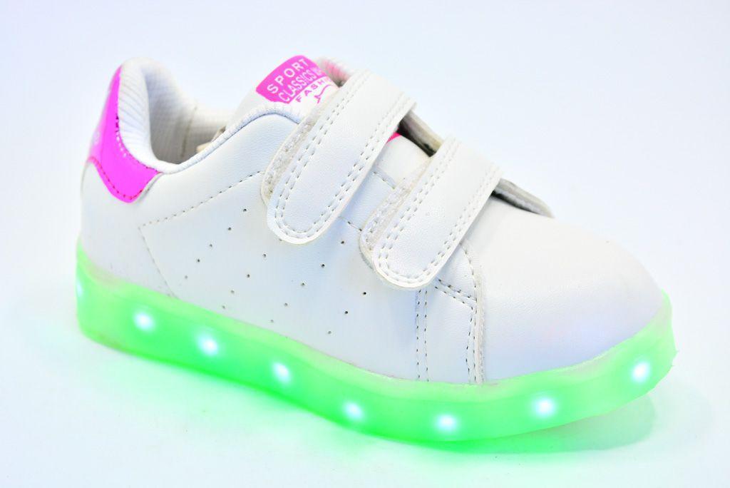 LEd кроссовки на липучках белые 404-3