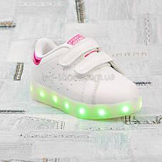 LEd кроссовки на липучках белые 404-3, фото 3