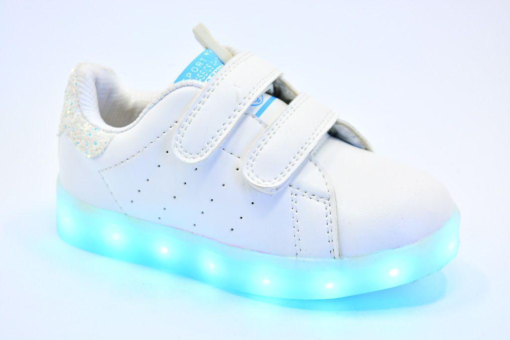 LEd кроссовки на липучках белые 406-1