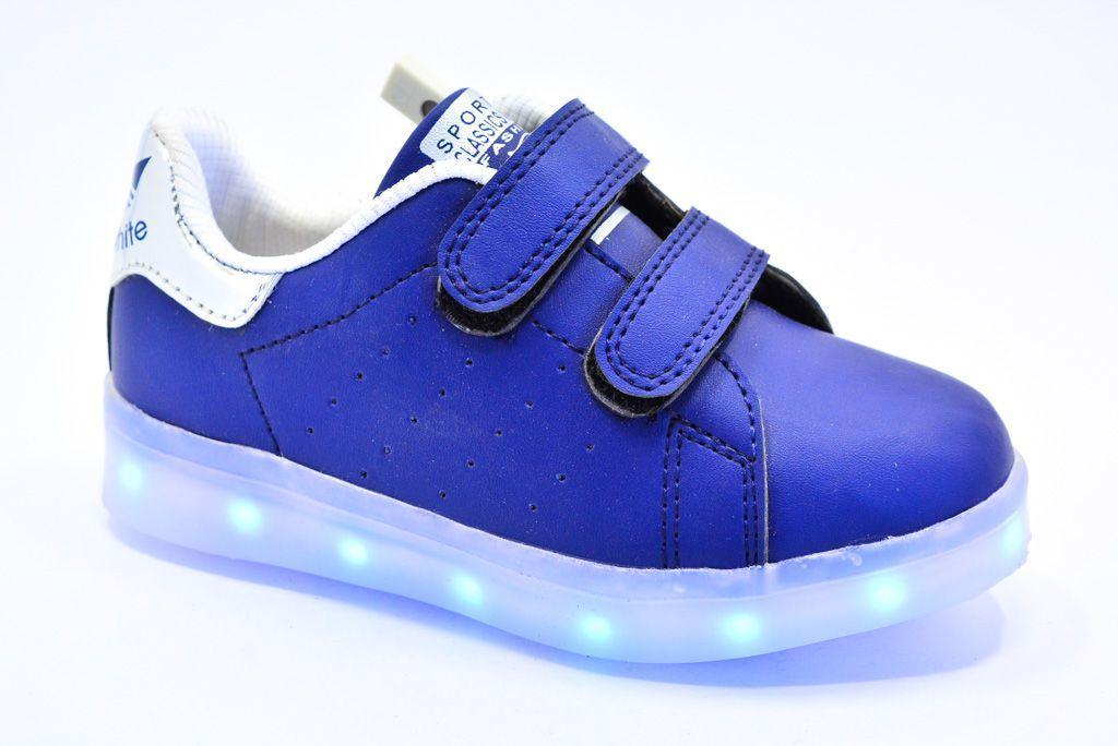LEd кроссовки на липучках синие пятка серебро  406-9