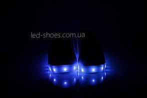 LEd кроссовки на липучках синие пятка серебро  406-9, фото 2
