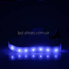 LEd кроссовки на липучках синие пятка серебро  406-9, фото 3