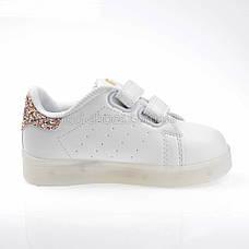 LEd кроссовки на липучках белые с золотом  404-4, фото 2