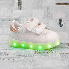 LEd кроссовки на липучках белые с золотом  404-4, фото 3