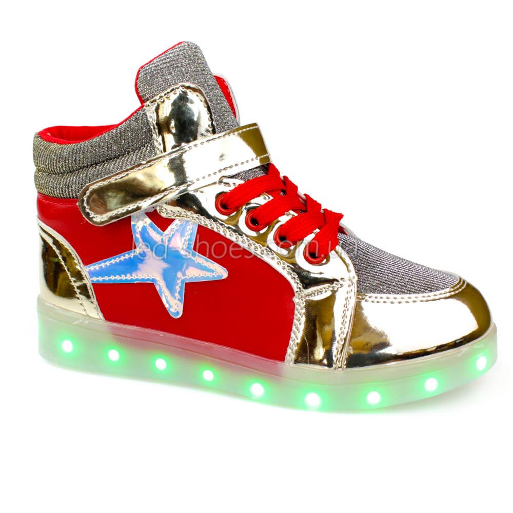 Светящиеся кроссовки высокие золотые с красным на шнурках 5117-01