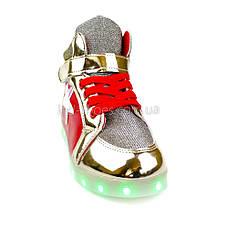 Светящиеся кроссовки высокие золотые с красным на шнурках 5117-01, фото 3