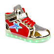 Светящиеся кроссовки высокие золотые с красным на шнурках 5117-01, фото 6