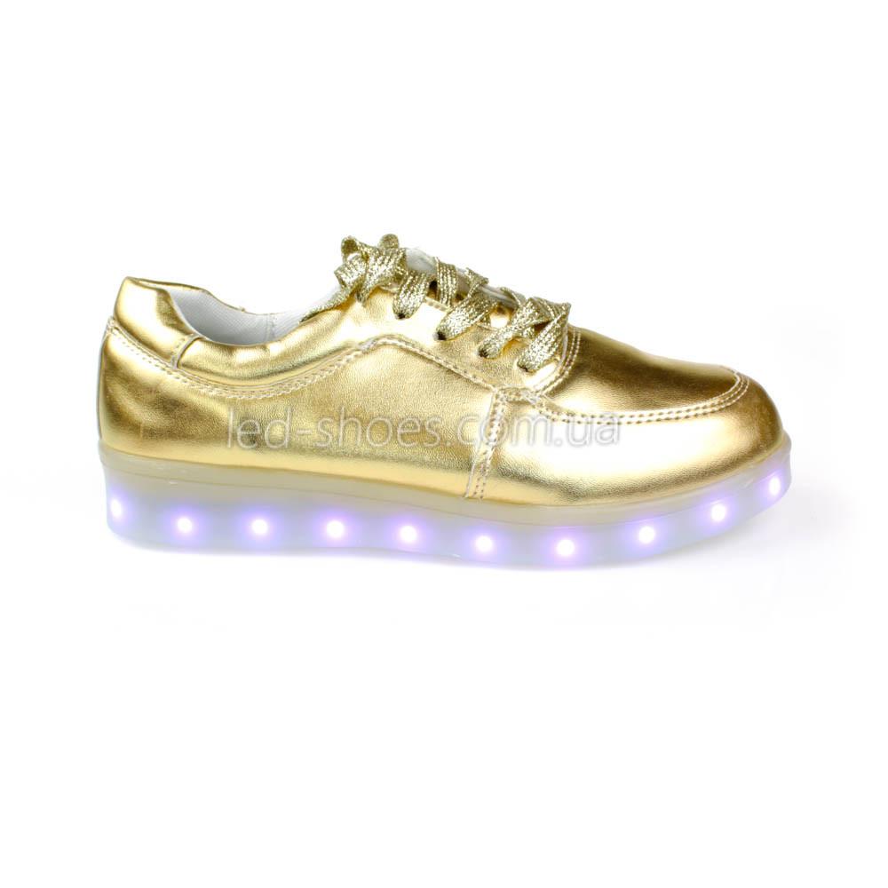 Светящиеся кроссовки золотые