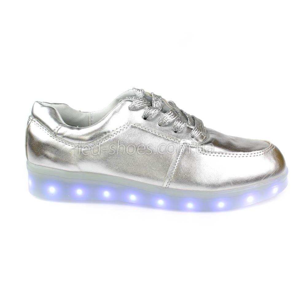 LEd кроссовки серебро классические на шнурках 5106-3