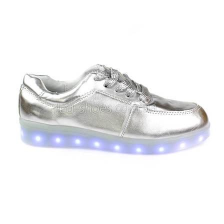 LEd кроссовки серебро классические на шнурках 5106-3, фото 2