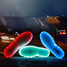 Светящиеся кроссовки белые на шнурках 5118, фото 2