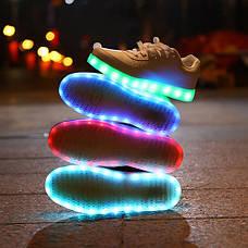 Светящиеся кроссовки белые на шнурках 5118, фото 3