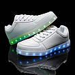 Светящиеся кроссовки белые на шнурках 5118, фото 5