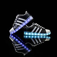 LEd кроссовки Superstar на шнурках чёрные с белыми полосками 5107-2
