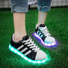 LEd кроссовки Superstar на шнурках чёрные с белыми полосками 5107-2, фото 3