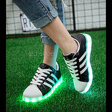 LEd кроссовки Superstar на шнурках чёрные с белыми полосками 5107-2, фото 2