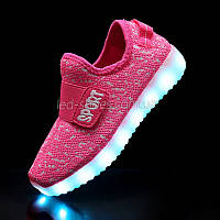 Светящиеся LED кроссовки Yeezy на липучке розовые 5101-3