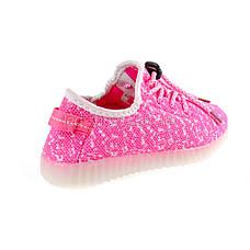 Светящиеся LED кроссовки Yeezy на шнурках розовые 5102-3, фото 3