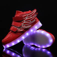 Светящиеся кроссовки Крылья - Wings - высокие красного цвета USB зарядка 5502-5, фото 3