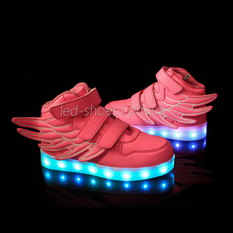 Светящиеся кроссовки Крылья - Wings - высокие розового цвета USB зарядка 5502-4