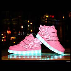 Светящиеся кроссовки Крылья - Wings - высокие розового цвета USB зарядка 5502-4, фото 3