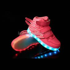 Светящиеся кроссовки Крылья - Wings - высокие розового цвета USB зарядка 5502-4, фото 2