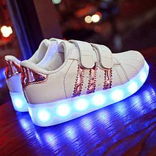 Светящиеся кроссовки LED Superstar на липучках бело-розовые 5108-3, фото 2