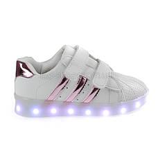 Светящиеся кроссовки LED Superstar на липучках бело-розовые 5108-3, фото 3
