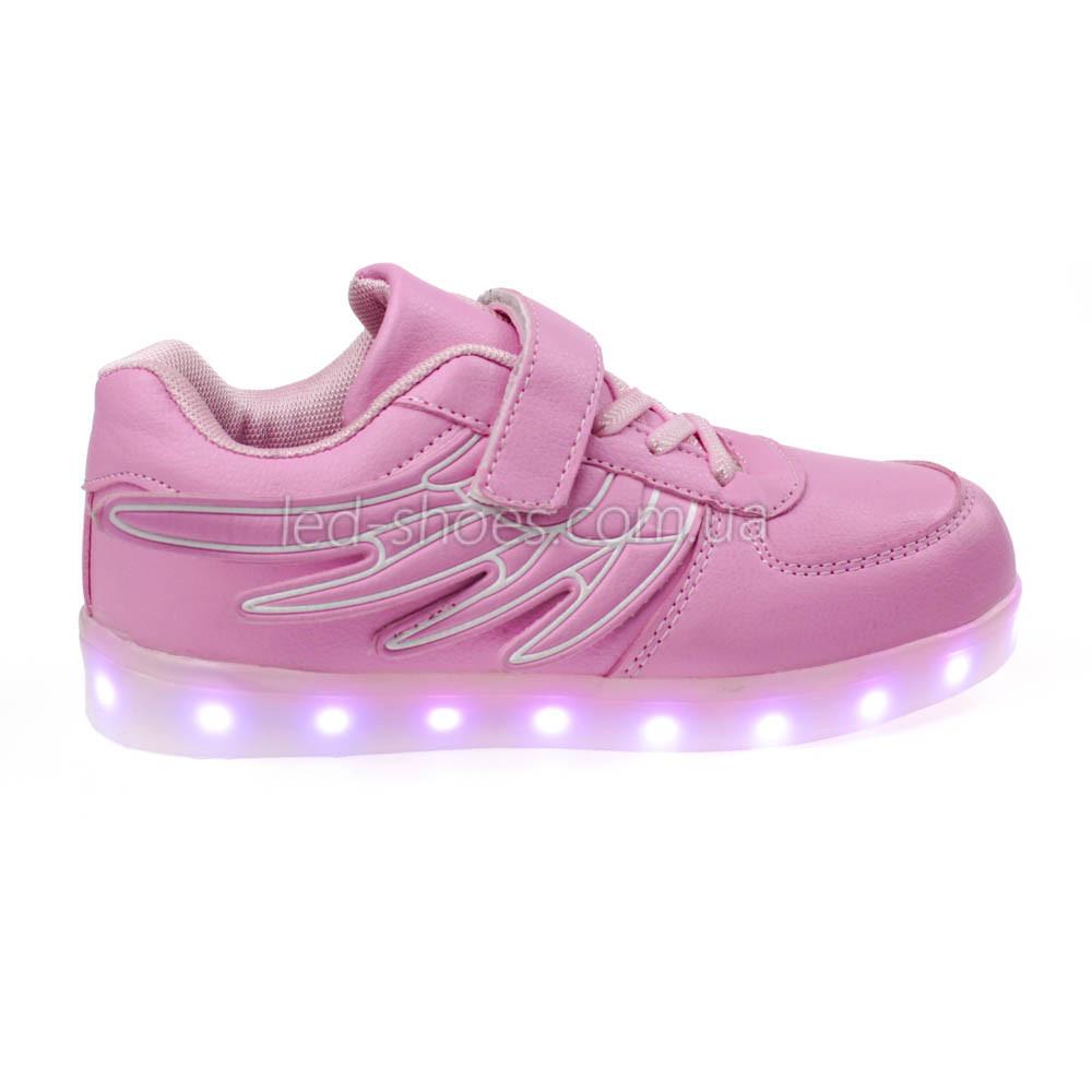 LEd кроссовки розовые Крылья - Wings для девочки 5307-3