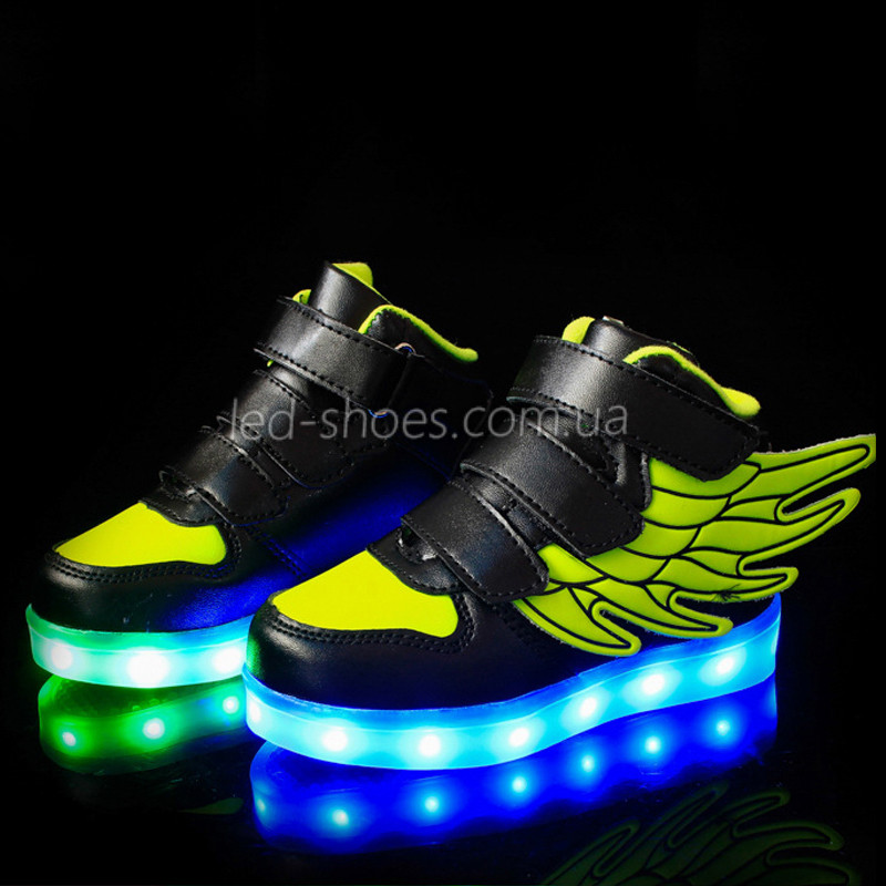 Светящиеся кроссовки Крылья - Wings - высокие черно-салатового цвета USB зарядка 5502-3