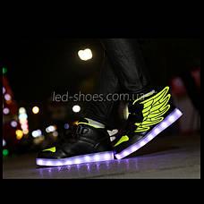 Светящиеся кроссовки Крылья - Wings - высокие черно-салатового цвета USB зарядка 5502-3, фото 3