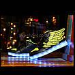 Светящиеся кроссовки Крылья - Wings - высокие черно-салатового цвета USB зарядка 5502-3, фото 4