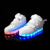 Светящиеся кроссовки Крылья - Wings - высокие белого цвета USB зарядка 5502-1