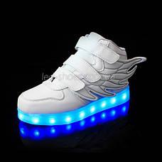 Светящиеся кроссовки Крылья - Wings - высокие белого цвета USB зарядка 5502-1, фото 2