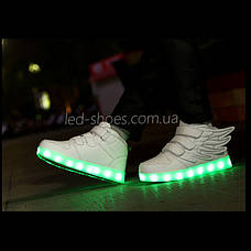 Светящиеся кроссовки Крылья - Wings - высокие белого цвета USB зарядка 5502-1, фото 3