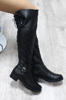 Сапоги-ботфорты зимние кожаные на шнурочках черные