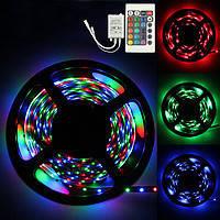 Очень яркая! Светодиодная лента RGB 5050 5м+пульт+контроллер+блок питания, LED лента многоцветная