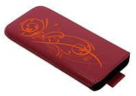 Чехол для FLY IQ 440 B43 розовый лак кожаный с тесьмой