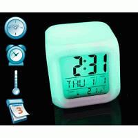 Настольные часы-ночник + Будильник + Термометр - Хамелеон 7 цветов